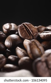 Close-up of coffee beans in a sack