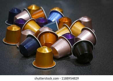Close-up of coffee capsules