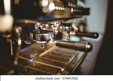 Close-Up of coffee machine making a cup of coffee in restaurant