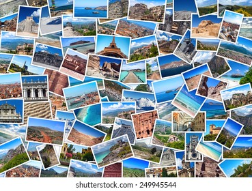 Close-up collage with  travel images: France, Spain, Mexico, Greece, Maldives, Thailand, Jordan, India