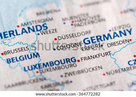Closeup Cologne Germany On Political Map Stock Photo Edit Now