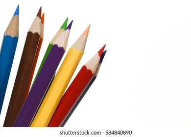 Close-up color pencils isolated on white background, concept of art and education.