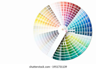 Close-up of color swatches book. Diverse colors paint samples catalog.
