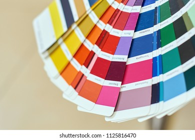 Close-up of color wheel or palette for choosing paint tone, samples of different paints