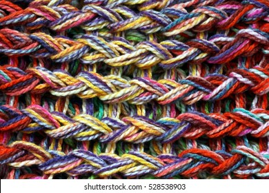 Closeup of colored knitted wool texture/Wool background
