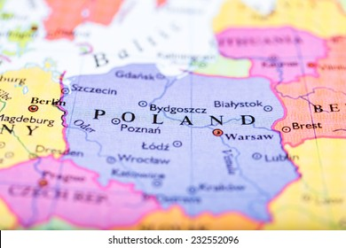 Close-up of colored map of Europe zoomed in on Poland