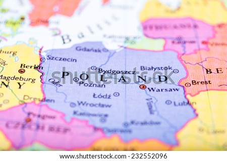 Closeup Colored Map Europe Zoomed On Stock Photo (Edit Now ...