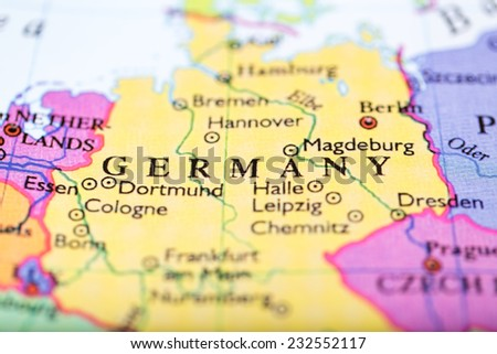 Germany Map Of Europe.Closeup Colored Map Europe Zoomed On Stock Photo Edit Now