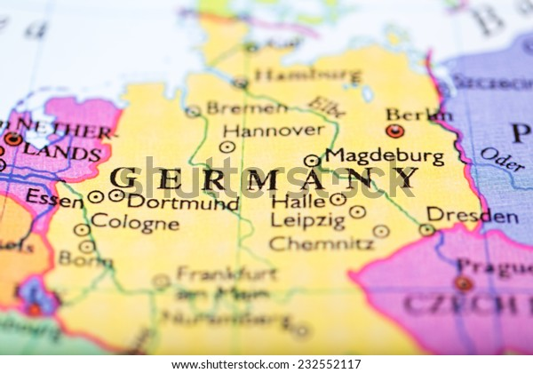 Closeup Colored Map Europe Zoomed On Miscellaneous Stock Image 232552117