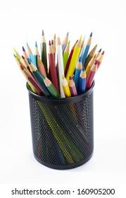 Close-up of colored pencils Pencil box