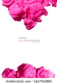 Closeup of a colorful acrylic ink in water. Abstract background. Festival of colors. Pink color explosion. Poster isolated on white with center copy space and sample text