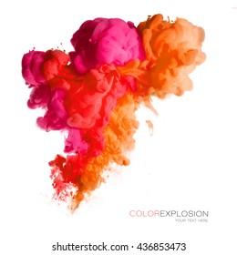 Closeup of a colorful acrylic ink in water isolated on white. Abstract background. Color explosion