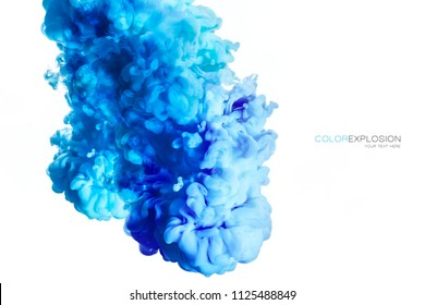 Closeup of a colorful blue acrylic ink in water isolated on white with copy space. Abstract background. Color explosion. Paint texture.