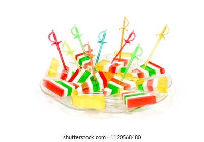 Close-up of colorful candy striped jujube on a white background