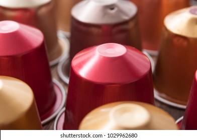 closeup of colorful espresso coffee doses