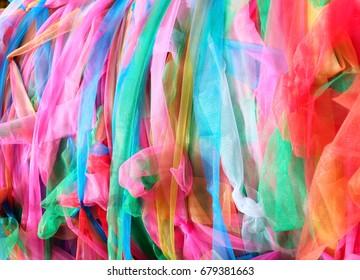 closeup colorful fabric in Thai temple wallpaper