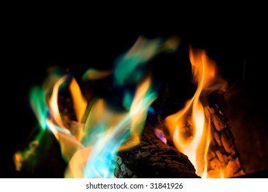 Closeup of colorful fire