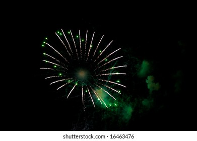 Closeup of Colorful Fireworks Explosion