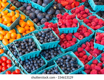 Closeup of colorful fruits at an outdoor market