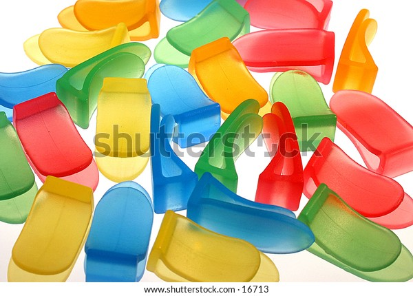 Closeup of colorful paper clips
