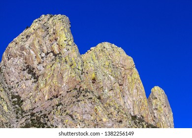 Closeup of colorful peaks at Organ Mountains-Desert Peaks National Monument in New Mexico