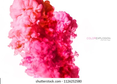 Closeup of a colorful pink acrylic ink in water isolated on white with copy space. Abstract background. Color explosion. Paint texture.