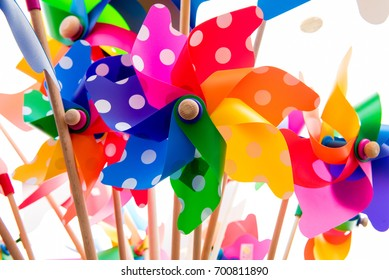 Close-up of colorful pinwheels against white background