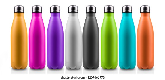 Close-up of colorful reusable, steel thermo water bottles, isolated on white background. Zero waste. Say no to plastic disposable bottle. Environment concept. - Shutterstock ID 1209661978
