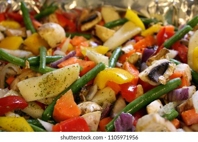 Closeup of a colorful roasted vegetable medley