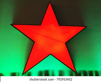 closeup colorful of a star light changes color by lights on wall