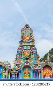 Close-up of the colorful statues at the Batu Caves Temple,Kuala Lumpur Malaysia.