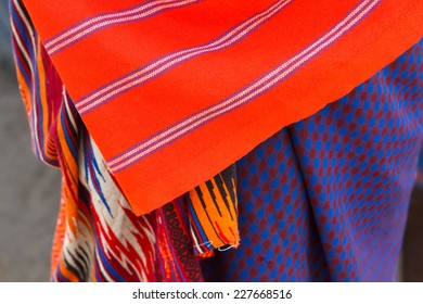 Closeup of colorful textile of Masai tribe in Africa