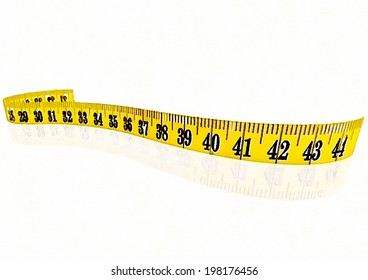 Closeup of colorful watercolor hand-painted art illustration : measuring tape (High-resolution 2D CG illustration)