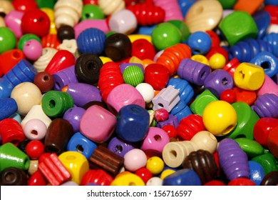 Closeup of colorful wooden beads for children