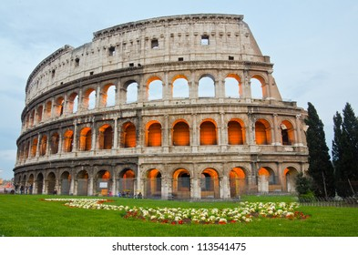 closeup of Colosseum at Dusk, Rome Italy
