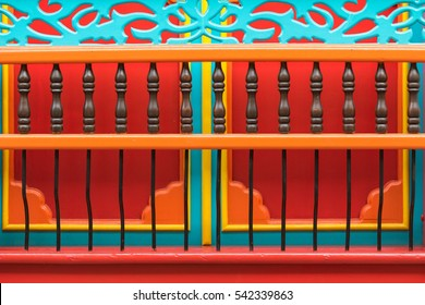 closeup of a colourful colonial balcony in Colombia