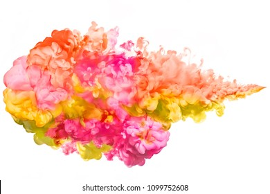 Closeup of a colourful ink in water on a white background with copy space. Rainbow of colors. Color explosion. Paint texture isolated on white