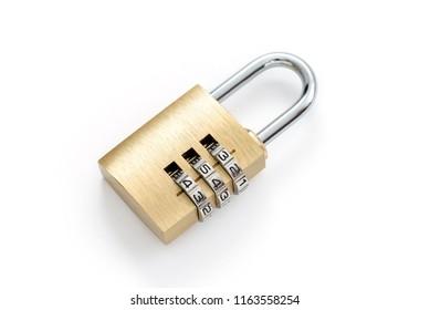 Close-up combination golden padlock.
