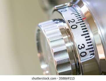 Close-up of a combinations safe dial lock