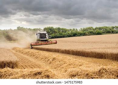 close-up combine harvester in a beautiful rural landscape