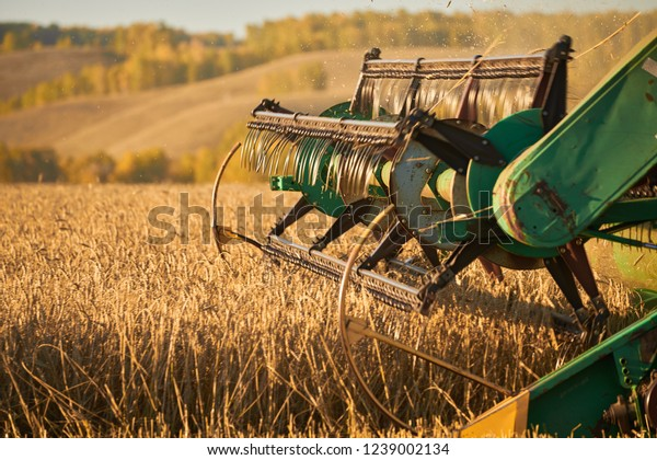 Closeup Combine Harvesting Machinery Detail While Stock