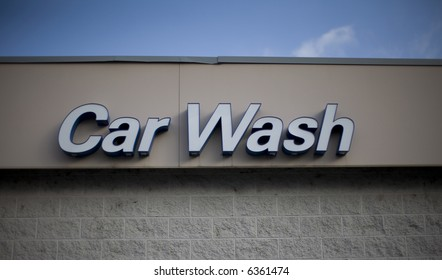 Close-up of commercial car wash sign