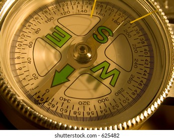 Close-up of compass dial showing the four corners and degrees.