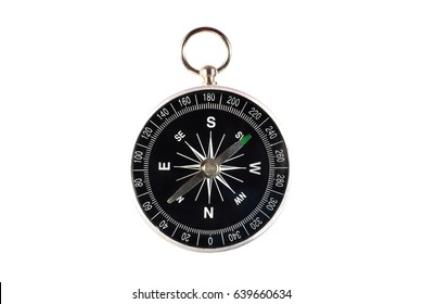 Closeup compass on white background.