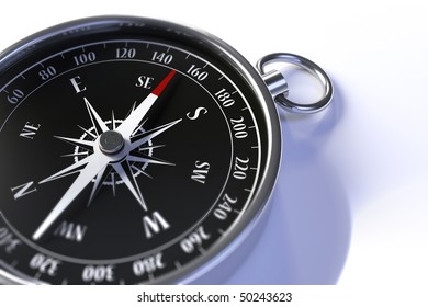 Closeup of a compass with shallow depth of field