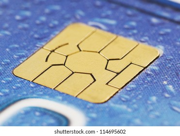 Close-up of a computer chip on a credit card