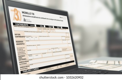 closeup of a computer laptop with a tax form on screen, concept of online tax filing (3d render)