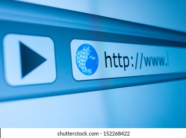 Closeup of Computer Screen With Favicon and URL Address Bar - Shallow Depth of Field
