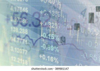 Close-up computer screen with financial data. Multiple exposure photo.