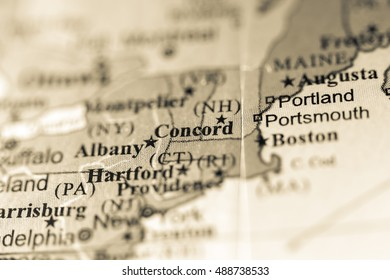 Closeup of Concord, New Hampshire on a political map of USA.